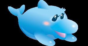 かわいい青いイルカのラインスタンプ